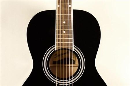 Savannah SGP-12 Parlour Size Acoustic Guitar, Black- Image 3