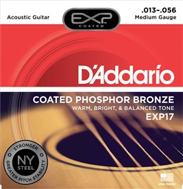 D'addario EXP17 Coated Phosphor Bronze Strings 13-56, Medium - Image 1