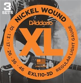 D'addario Electric 10-46 Regular Light EXL110-3D, 3 Pack - Image 1