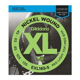 D'addario Exl165-5 Regular Light Top/Med Bottom 5 String Bass Strings