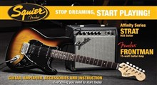 Squier Affinity HSS Stratocaster Guitar Pack Includes Frontman 15G Amplifier, Brown Sunburst