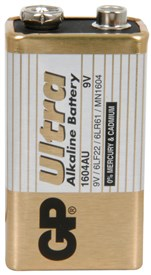 GP Ultra PP3 9v Alkaline Battery