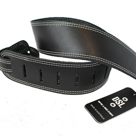 "DSL 2.5"" SGE Classic Leather Strap - Black with Beige Stitch"