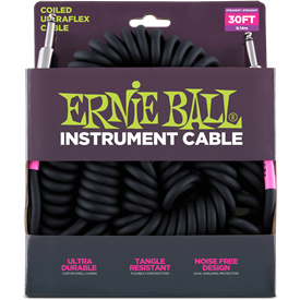 Ernie Ball Ultraflex Coil Guitar Lead 6044, Black, 30ft - Image 1