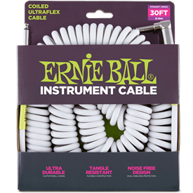 Ernie Ball Ultraflex Coil Guitar Lead 6045 Angled