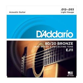 D'addario EJ11 80/20 Bronze Acoustic Strings 12-53