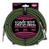 Ernie Ball Braided 10ft Guitar Lead, Black/Green, Straight/Angle- Image 1